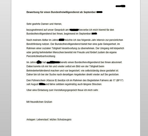 Bewerbung Für Den Bundesfreiwilligendienst Bfd Bufdi