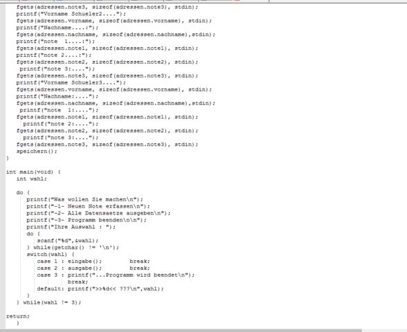 Mein Code Ende - (Programm, C Programmierung, hohes-c)