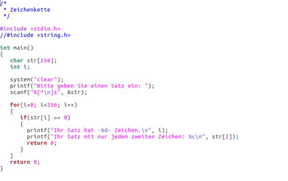 C-Code - (String, C Programmierung)