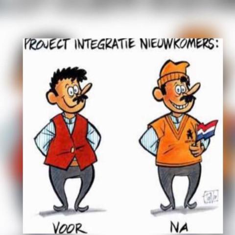 Oben steht: Integration Neulinge    Unten links: vorher   Unten rechts: nachher  - (Schule, Interpretation, Cartoon)