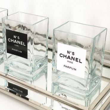 chanel deko gl ser kaufen glas inspiration. Black Bedroom Furniture Sets. Home Design Ideas