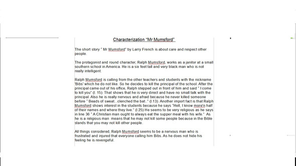 Charakterisierung  - (englisch, Charakterisierung, Mr. Mumsford)
