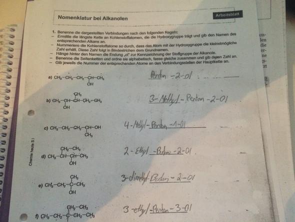 Chemie - Nomenklatur bei Alkanolen. Ist alles so richtig? (Schule)