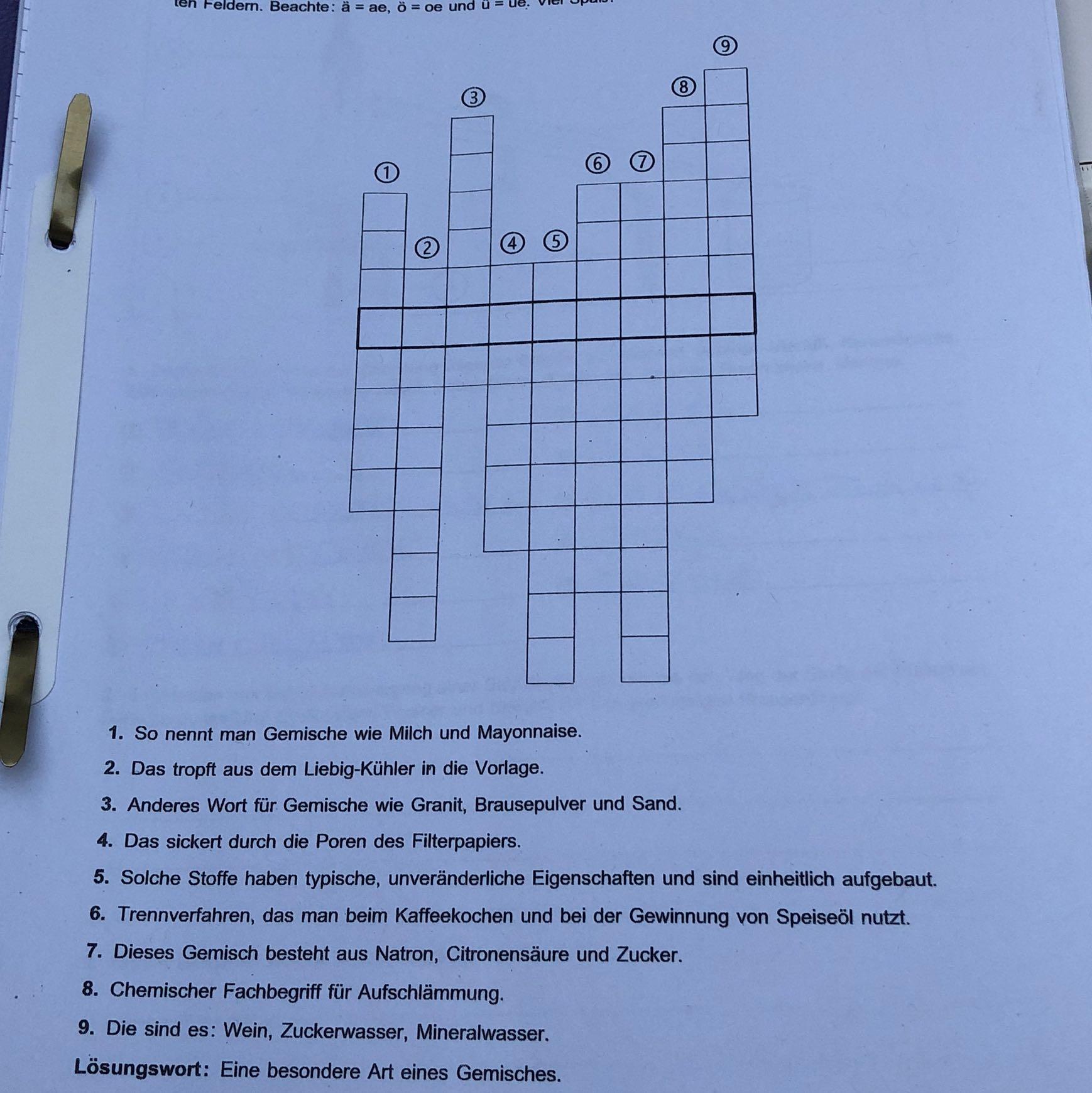 Chemie AB Kreuzworträtsel? (Schule)