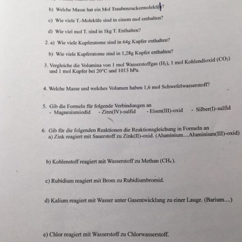 Übungsblatt für die Arbeit  - (Arbeit, Chemie, neunte klasse)