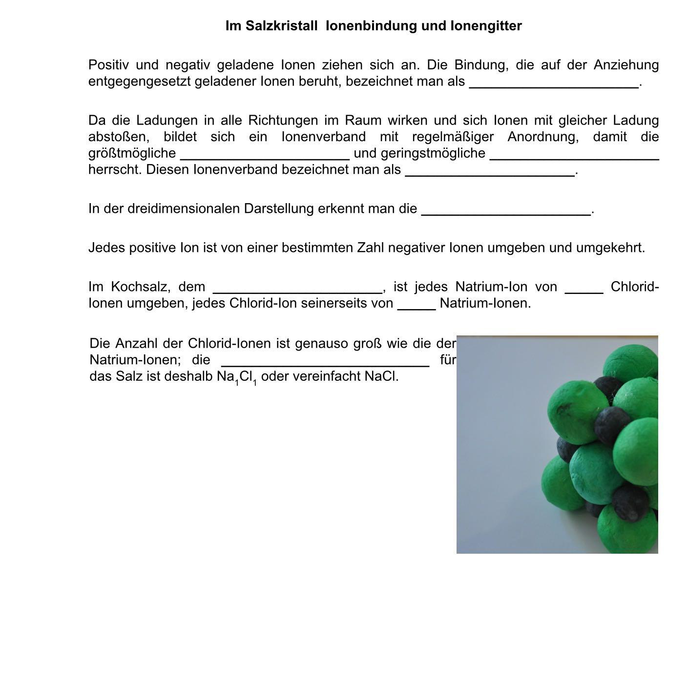 chemie Arbeitsblatt lösen(Lückentext-Im Salzkristall...)? (Salz ...