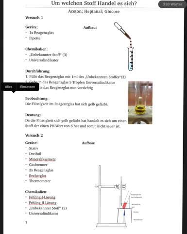 Chemie Protokoll Deutung Tollenprobe und Fehling Probe?