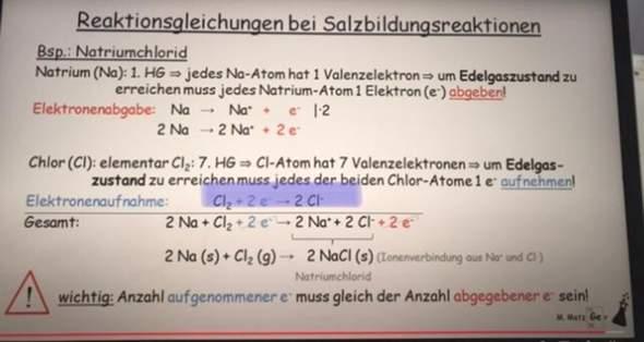 Chemie-Reaktionsgleichung bei Salzbildung 🥺?