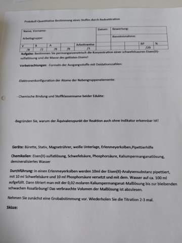 Chemieprotokoll,Titration mit Permanganat& Eisen(II)-sulfid?