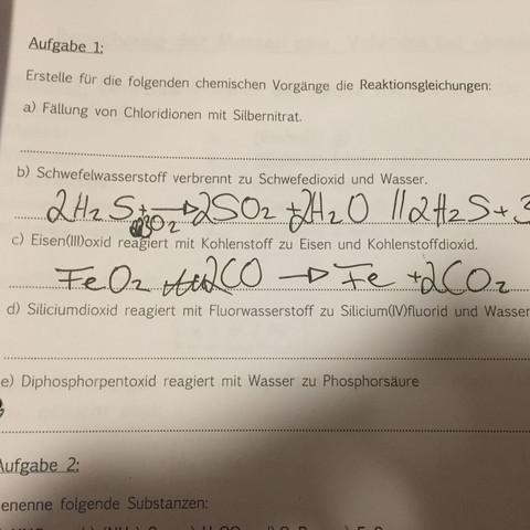 ..... - (Schule, Chemie, Reaktion)