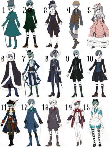 ciel phantomhives outfits anime bilder outfit