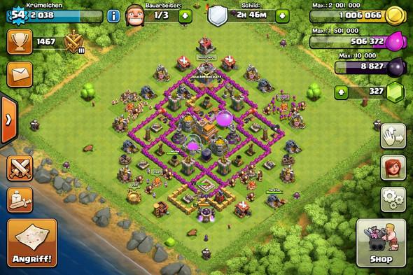 Base 1 - (clash of clans, Rathaus 7)