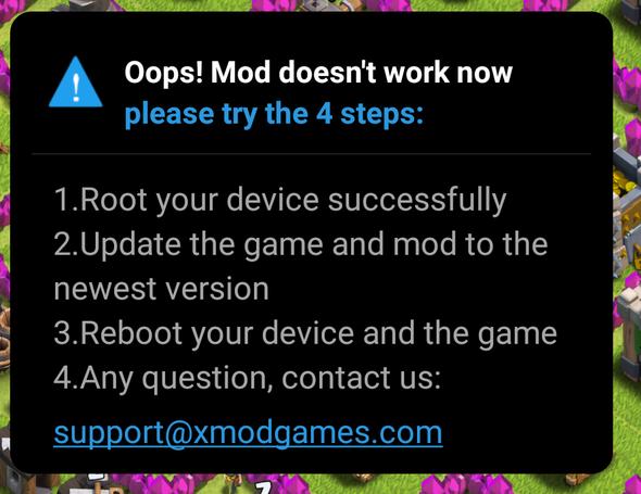 Das ist der Fehler - (Fehlermeldung, clash of clans, xModGames)