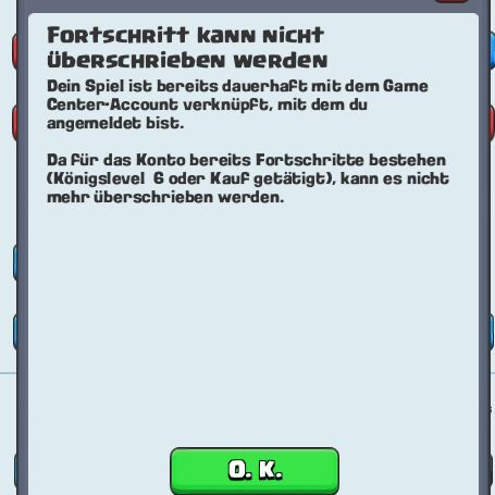 Fehlermeldung - (ios, Clash Royale, Game Center)