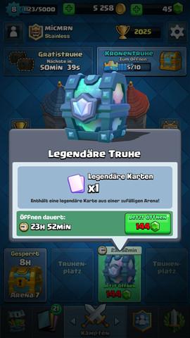 Beschreibung meiner Legendary Chest - (Handy, Android, Clash Royale)