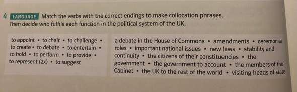 Collocational phrases and function in political system in UK?