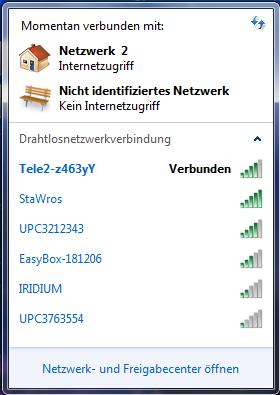 "Screenshot von ""Momentane Verbindungen"" - (Computer, Internet, WLAN)"