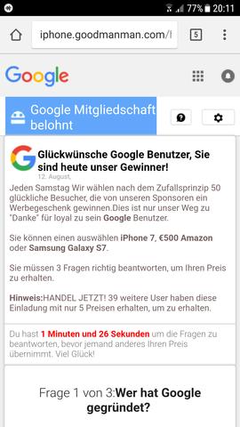 - (Google, Virus, Popup)