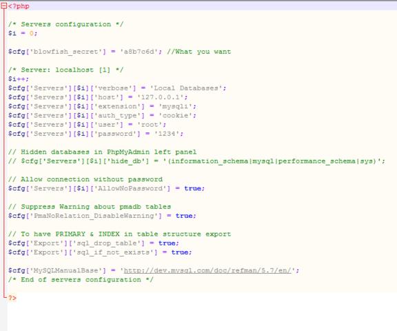 Die config.inc - (HTML, MySQL)