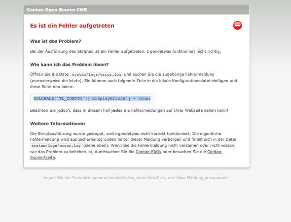 Screenshot Contao - (E-Mail, HTML, Programmierung)