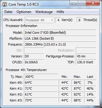 Core temp - (cpu, Intel, heiß)