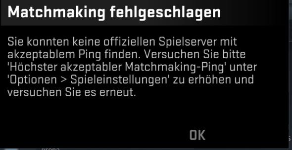 cs go verbinde mit matchmaking servern