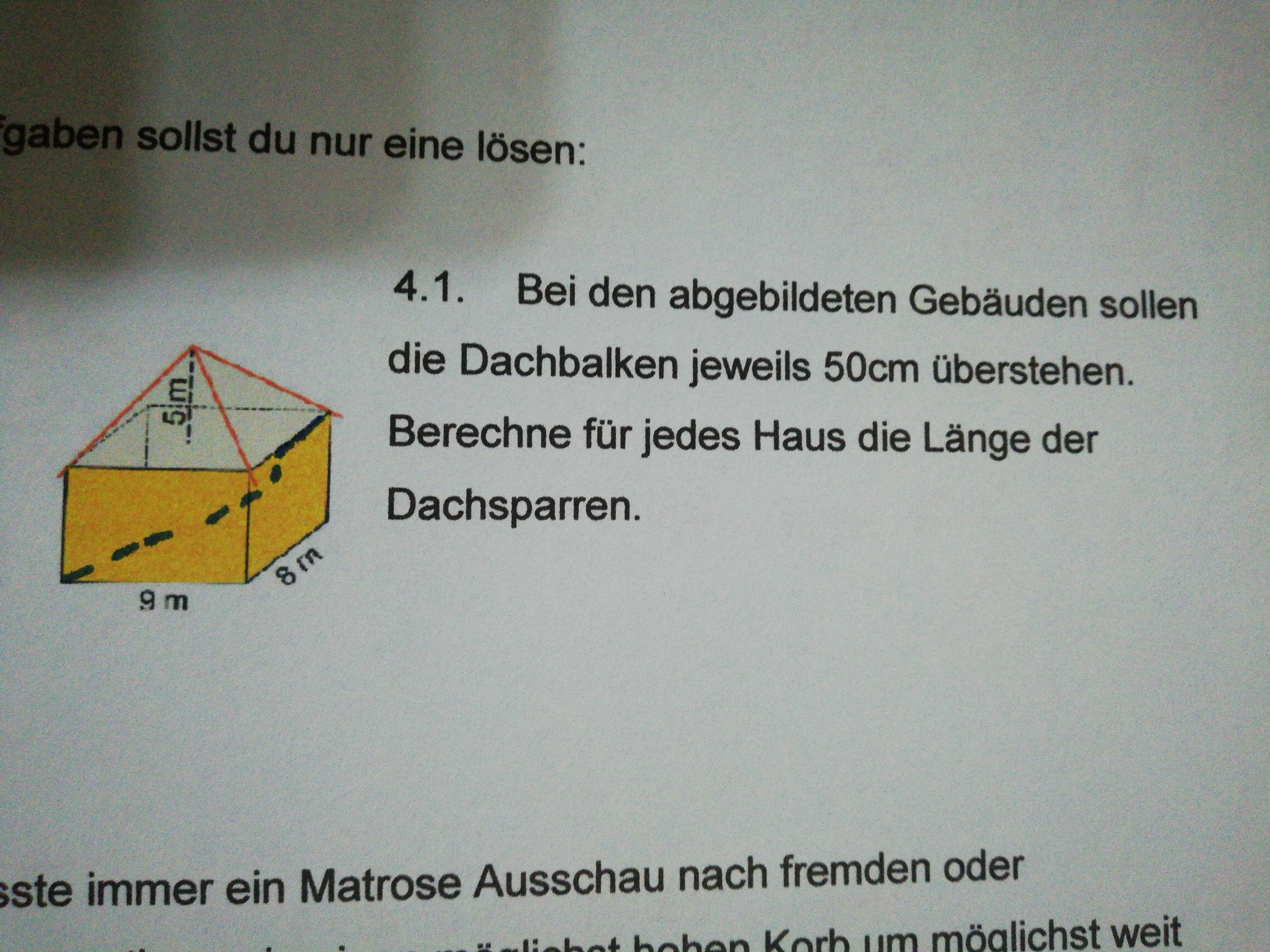 dachbalken von haus berechnen schule mathematik satz des pythagoras. Black Bedroom Furniture Sets. Home Design Ideas