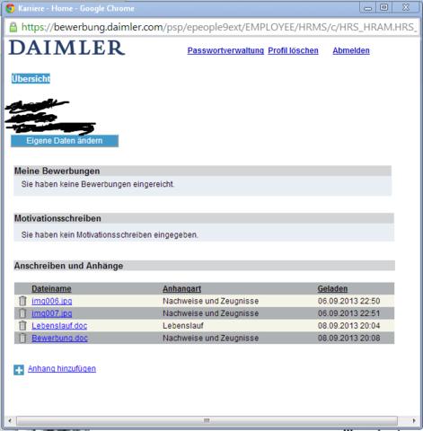 Daimler Mercedes Online Bewerbungsprobleme Computer Auto Bewerbung