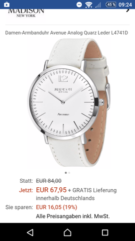 Hier seht ihr die Madison New York Uhr und ihren Preis bei Amazon  - (Armbanduhr, DanielWellington, MadisonNewYork)