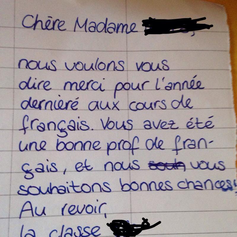 Dankesbrief an Französischlehrerin (Französisch)