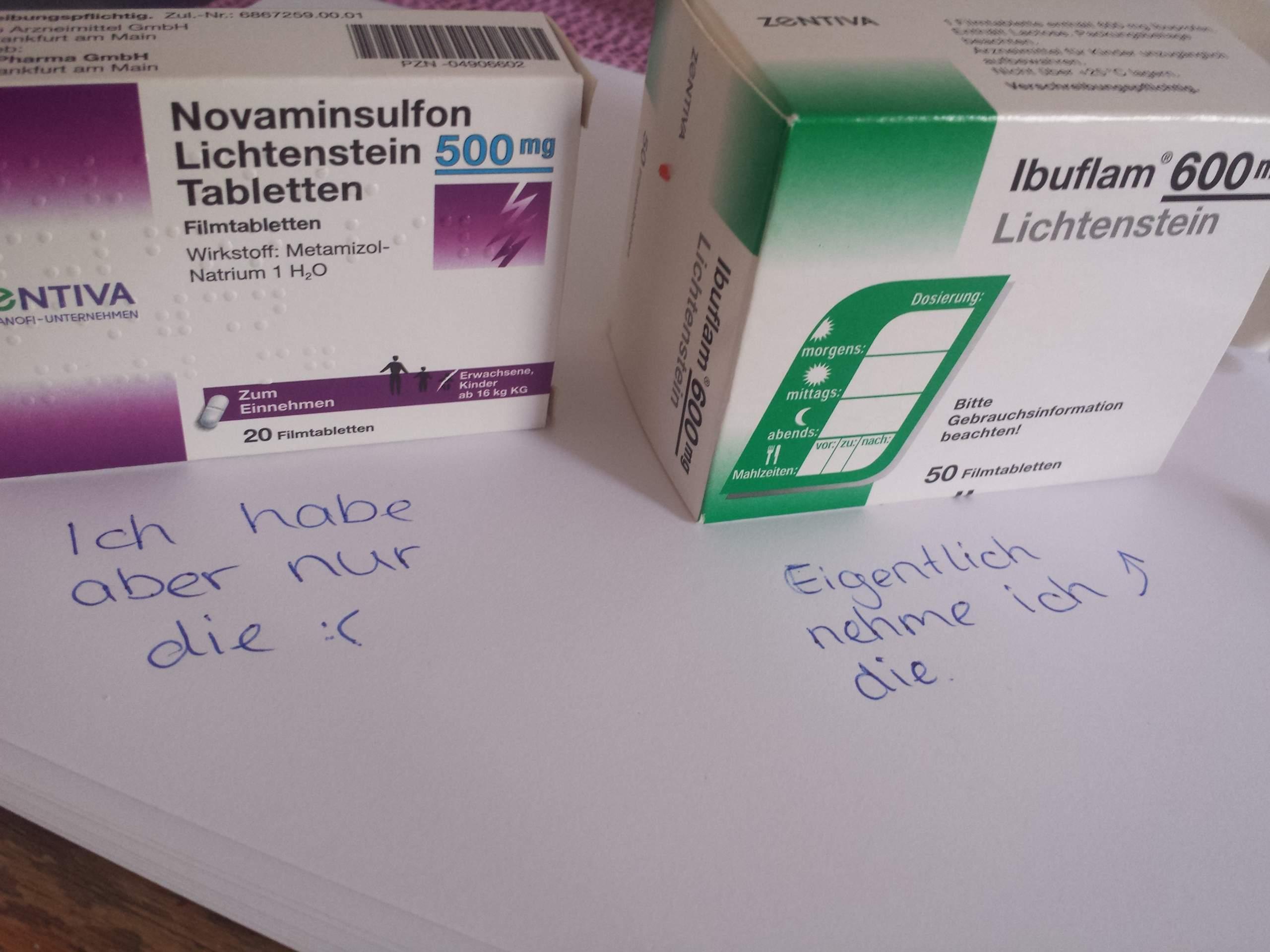 Mg ibuprofen 500 novaminsulfon 600 oder Novaminsulfon (Metamizol):