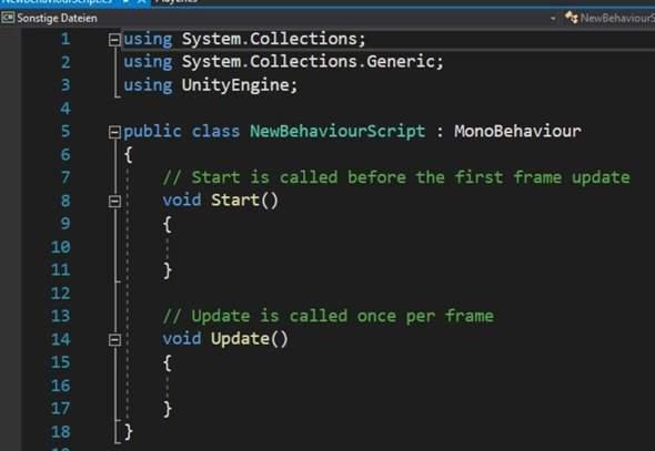 Datei-Typ ändern bei C# script in Visual Studio (Unity)?