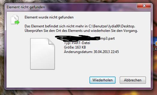das fenster, das sich öffnet, wenn ich die datei löschen will ... - (Computer, Datei, Desktop)