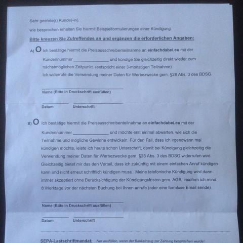 Gleichzeitig wurde eine Kündigung mitgeschickt  - (Vertrag, Abzocker)