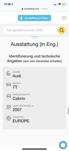 Daten der FIN beim Audi TT?