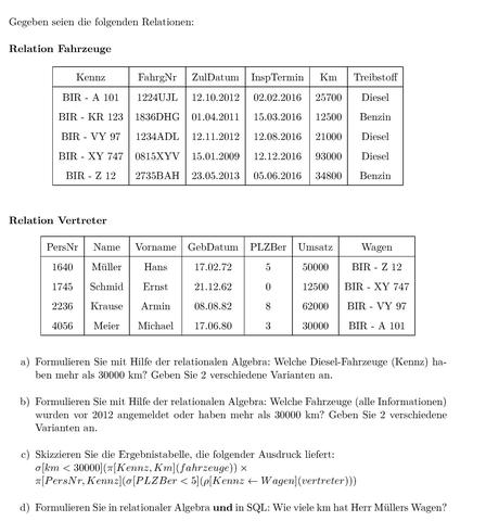 Übung - (Programmierung, Datenbank, relationale algebra)