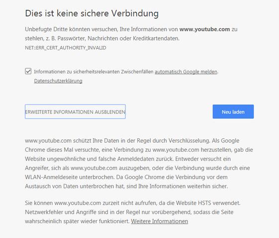 Diese website kann keine sichere verbindung bereitstellen