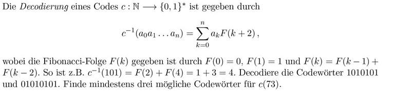 decodierung eines codes inkl fibonacci folge mathe. Black Bedroom Furniture Sets. Home Design Ideas