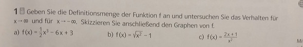 Aufgabe - (Mathe, Definitionsmenge)