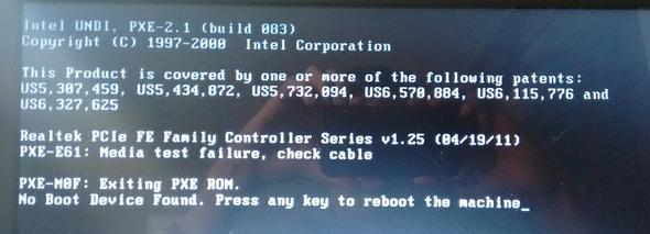 Dell Inspirion - No boot device Found - Windows 8( 1