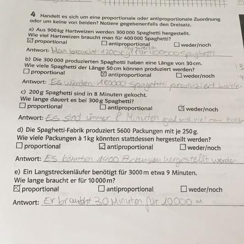 Denkt ihr die e) ist anti- oder proportional? (Schule, Mathe ...