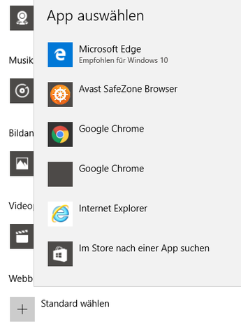Google Chrome ist in der Liste der Standardbrowser zwei mal vertreten. - (Google, Windows 10, Chrome)