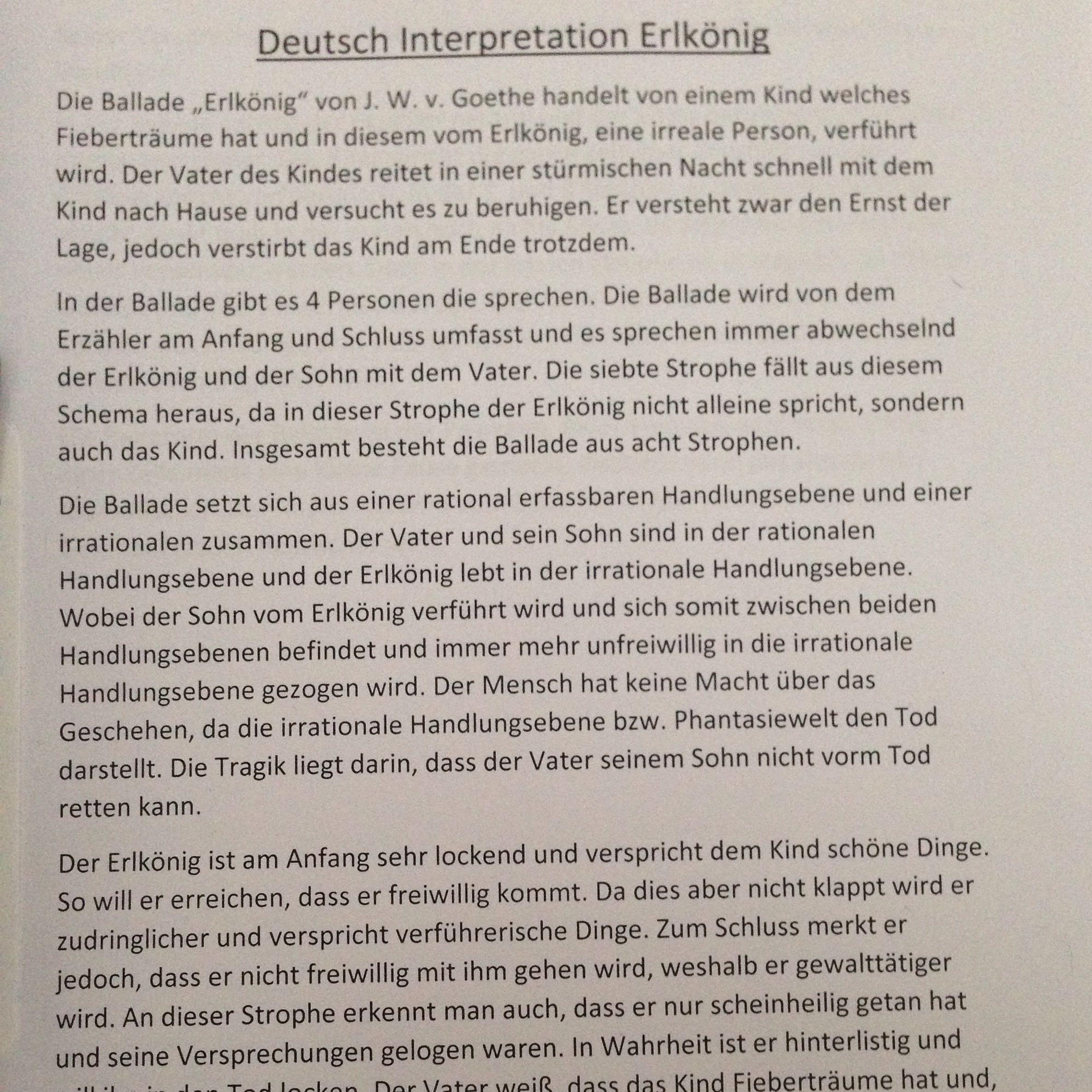 Deutsch Interpretation Zum Erlkönig Goethe Ballade