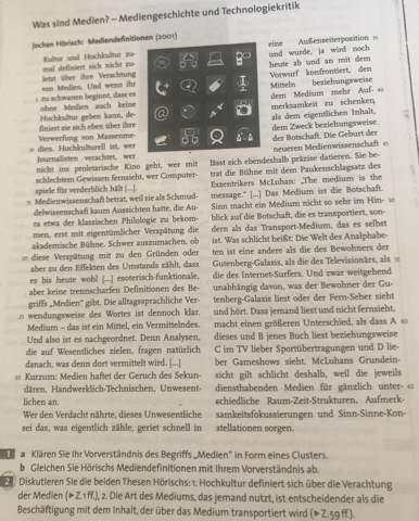 Deutsch Text Diskutieren: Thesen zu Mediendefinitionen?