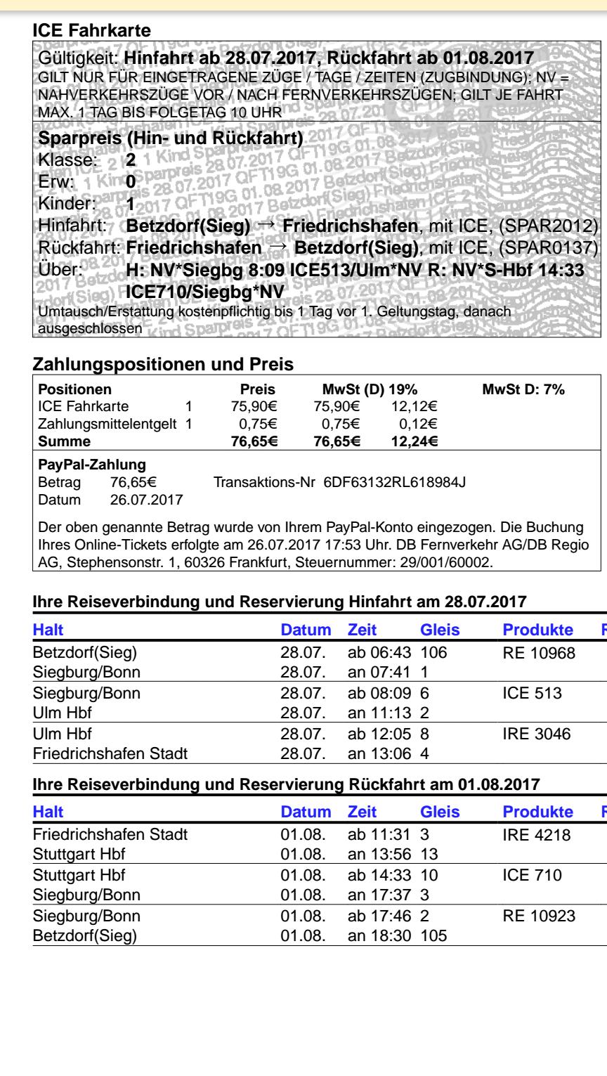 Bahn Ticket Sparangebot