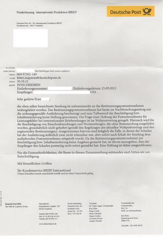 Deutsche Post Einschreiben International Beschädigt Die Post Haftet