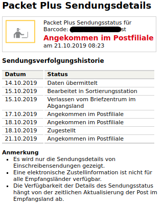 Deutsche post sendungsstatus