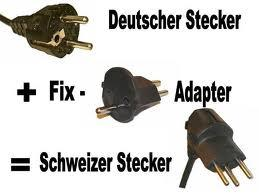 deutsche stecker adapter zu schweizer stecker f hren. Black Bedroom Furniture Sets. Home Design Ideas