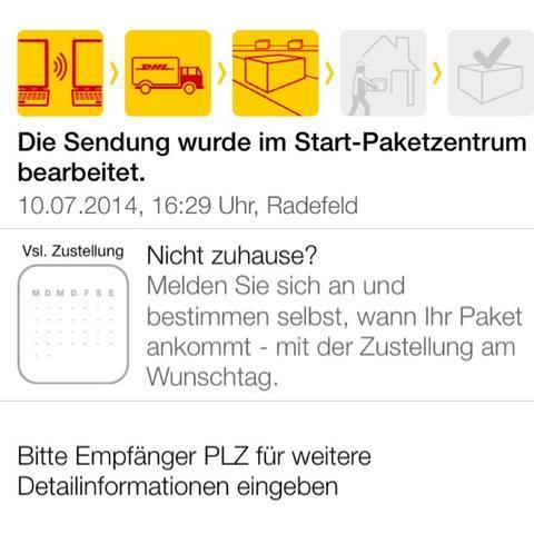 Dort sieht man die Reihenfolge, und dass es gestern im Startpaketzentrum war. - (App, DHL, sendungsverfolgung)