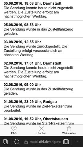 Statusverlauf - (DHL, Bote, fauler)